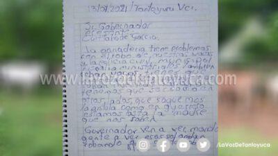 Denuncia a través de una carta el robo de ganado en Tantoyuca