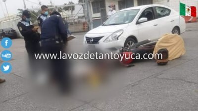Panadero resulta lesionado al ser embestido por automóvil