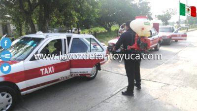 Sanitización unidades de transporte público en Tantoyuca