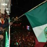 Momentos en que el Presidente Municipal de Tantoyuca, daba el tradicional Grito de Independencia.(Foto Red Social).