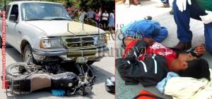 Con lesiones considerables fue trasladado a un hospital de la ciudad de Tuxpan un joven motociclista tras ser brutalmente atropellado en Tepetzintla. Foto: LVDT.
