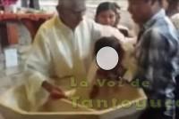 Denuncian al padre Juanito por maltrato infantil durante la ceremonia de bautizo